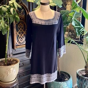 Macy's Black sweater dress with tribal print bib